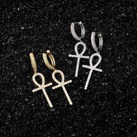 بلينغ زركون الهيب هوب الصليب أقراط للمجوهرات أزياء رجالي جديد مطلية بالذهب المرأة مفتاح استرخى الخواتم خواتم