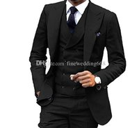 블랙 턱시도 신랑 웨딩 남자 정장 망 녀석 턱시도 턱시도 흡연 붓 붓 남자 (자켓 + 바지 + 타이 + 조끼) 058
