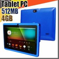 "848e Allwinner A33 Quad Core Q88 Tablet PC Dual Cámara de doble PC de 7 ""Pantalla Capacitiva de 7 pulgadas Android 4.4 512MB 4GB WiFi Google Play Store Flash C-7PB"
