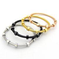 Титановый стальный винт влюбленные браслеты браслеты мужчины с 6 винтовой нитью стальные розовые золотые браслеты для ювелирных изделий для пары