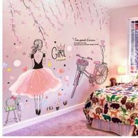 [SHIJUEHEZI] Chica de dibujos animados Pegatinas de pared de PVC Material DIY Flores de melocotón de la bicicleta calcomanía de pared para habitaciones de niños dormitorio del bebé decoración