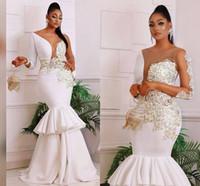 Manga larga blanca de la sirena de los vestidos de la tarde del partido 2020 apliques de encaje de oro Sheer nee ocasión africana corte lateral Prom Vestidos Abendkleider