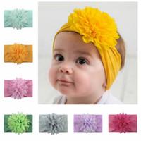 Bebek şifon Çiçek Hairband Bebek Elastik Şakayık Çiçek Turban Kız Bebek Big Çiçek Kafa Katı Şapkalar Aksesuarlar 13 Renk HHA1181