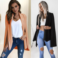 New Jacket Women 2018 Fashion Slim Manteaux et vestes sexy double col Châle Design Manteau Femme Automne Outwear Cap