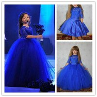 Royal Blue Half Lace manches Filles Pageant Robes 2019 Stain genou longueur fleur Robes avec jupe amovible Tulle