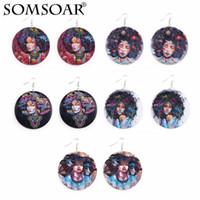 새로운 나무 귀걸이 인쇄 아프리카 헤드 컬러 귀걸이 패션 hipster 보헤미안 귀걸이 여성