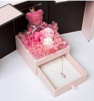 2020 ours en peluche cadeau pour la fête de la Saint-Valentin rose deux porte boîte cadeau anniversaire femme amie anniversaire de jour de la mère Noël gif
