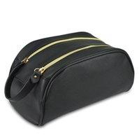 Женщины Конструктор Cosmetic Bag Double Zipper большой емкости для путешествий Водонепроницаемый PU Желающих сумка для путешествий сумки отпуск