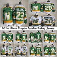 Dallas Stars Vintige Version Jerseys 4 Hartssburg 1 Worsley 7 Broten 9 Modano 11 Parise 20 Ciccarelli 23 Souffle CCM Jerseys de hockey