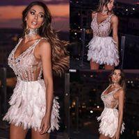 Сексуальные короткие перья коктейльные платья 2020 бисером V шеи выпускные платья вечерние платья Yousef Aljasmi Party Drect