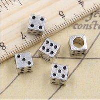 100шт / серия Tibetan Silver Big Hole Beads Казино Лаки Dice шарики прокладка для изготовления ювелирных изделий DIY ожерелья браслета отверстие 4,5 мм