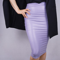 Gonna a tubino in pelle High Rise Bodycon elastica lavanda viola ultra viola