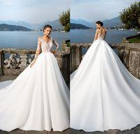 2020 Vintage Milla Nova robes de mariée Sheer manches longues en dentelle Appliqued Bouton Satin Robes de mariage Femmes Country Western Robes de mariée