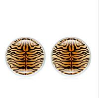 Wild Leopard Cabochon Ohrstecker Mode Glas Silber Überzogene modische Art Ohrringe Schmuck Geschenke für Mädchen Damen