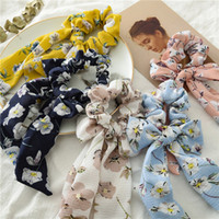 Barrettes Rose Floral Hair Scrunchies Donne Accessori Capelli Bands Ties Ponytail Holder Gomma Corda Decorazione lunga bowknot EAA334