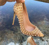 Extra Größe 33 bis 46 Luxus-rote untere Schuhe Gold Nieten Spikes hohe Absätze echtes Leder spitzen Stilettos desiger