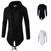 Mode Herbst Schwarz Weiß Umhang mit Kapuze SweatshirtHoodie Männer Street Hip Hop Lange Pullover Kleidung Herren Oberbekleidung Strickjacke M-3XL
