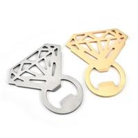 El anillo de diamante de forma de la botella abridor de acero inoxidable del diamante botella de cerveza abridor hueco herramientas fuera Anillo abridor de cocina creativa YYSY329