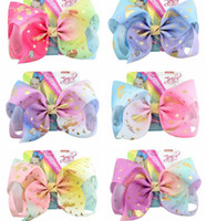 8 Inch Big Clip Rainbow Unicorn Bow- knot Print Grosgrain Rib...