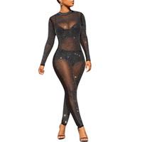 بيع مثير بذلة النساء حزب clubwear شبكة bodycon playsuit وزرة رومبير الراين F0435 طويلة الأكمام بريق الأسود