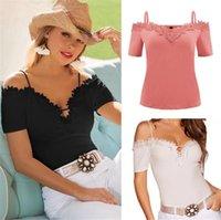 Kadınlar Yaz Dantel Kesme V Yaka T-shirt Katı Kapalı Omuz Spagetti Askı Tees Casual Tops