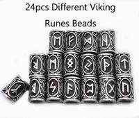 24pcs Top Argento norrena vichinga Runes Charms bordano i risultati per i braccialetti per la collana della barba o capelli sospensione Vikings Rune Kit
