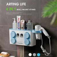 4 em 1 dentífrico distribuidor automático Wall Mounted porta-escovas + Cups Secador de cabelo Titular Banho Set armazenamento prateleira
