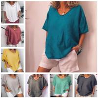 Yeni Yaz Kadın Tişört Tok Renk Tişörtlü Kısa Kollu Casual Gevşek Pamuk Ve Keten Gömlek Catwing Kol Spor Bluz Moda Tops