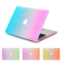 accesorios de computadora de casos portátiles colores del arco iris carcasa protectora para el libro del mac MacBook Pro Retina de aire 11/13 funda para portátil rosa + azul