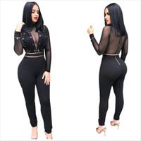 Sexy Black Lace Up Design Frauen Skinny Nightclub Overalls Sehen Sie durch lange Ärmel Reißverschluss zurück heißtest Party Overalls