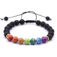 Bracelet de sept pierres précieuses hommes et femmes bracelet de perles de lave de yoga de diffusion d'huile essentielle