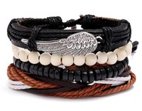 Man's cowhide Leather Bracelet DIY hand woven Multilayer Alloy wings Wood Bead Combination suit Bracelet size adjusted 4styles/1set