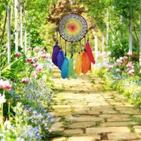 Campanelli eolici fatti a mano Dreamcatcher 7 Rainbow Color Feather Dream Catchers per regali Decorazioni per la casa per matrimoni Ornamenti Decorazione per appendere