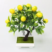 Decor mesa de café Escritório plantas Flone plástica artificial Amarelo Foam Fruit Tree Plant Simulation Mini vaso Para Casa Partido