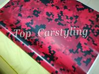 Pellicola adesiva autoadesivo autoadesivo in vinile con stampa digitale camo rossa per veicoli con avvolgimento 5x98ft / rotolo