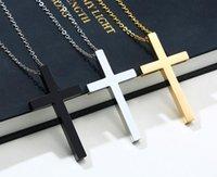 N237 Elegir color frío Hombres de acero inoxidable brillante cruz colgante collar de cadena de color plata / oro / negro para el amigo regalos 24 ''