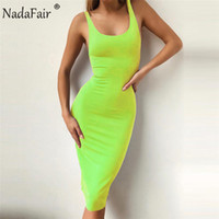 Nadafair Midi Sommer Neon Kleid Frauen Sexy Bodycon Club Party Kleid Damen Backless Schulterfrei Bleistift Kleid SH190702