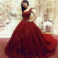 Elegant Dark Red Ball Gown Prom Dresses Sweetheart Straps Ap...