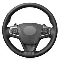 Siyah PU Suni Deri DIY Araba Direksiyon Kapağı Camry 2015 2016 2017 için Avalon 2013 2014 2015 2016 2017 2018