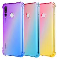Gradiente almofada de ar transparente de silicone suave TPU Case Capa Para Huawei P30 Pro P20 Lite Companheiro 30 20 X Nova 5 5i Y9 primeiro-Honor 20i 9X V20