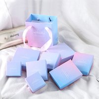 INS Creative Jewelry Box Fashion Pink Blue Gradient Ring Pac...