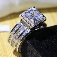 도매 전문 쥬얼리 925 스털링 실버 공주 컷 화이트 토파즈 CZ 다이아몬드 포장 약속 여성 결혼 약혼 반지