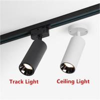 COB 15W LED 트랙 라이트 알루미늄 천장 레일 트랙 조명 스폿 레일 스포트라이트 할로겐 램프 조광 LED 통 AC85-265V 바꾸기