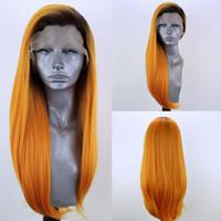 سريع شحن طويل كايلي جينر على غرار اللون البرتقالي البرازيلي الكامل الدانتيل الجبهة باروكة شعر مستعار الاصطناعية أومبير مع منبت الشعر الطبيعي شعر مستعار المرأة الأفريقية