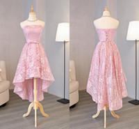 Romántico Lace Blush Vestidos de dama de honor de alto Partido Bajo Fotografías Real Photo Sin tirantes Corsé trasero Barato Prom Vestido Nuevo