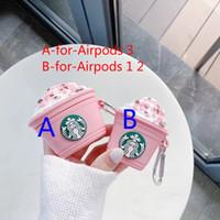 Capas de fone de ouvido cor-de-rosa do copo de chá do leite para os airpods Pro 2 1 Padrão do logotipo de Starbucks Corda da tampa do silicone com anel de dedo