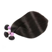 Cheveux droit cheveux wefts vierges brésiliens cheveux humains 8-30 pouces disponibles 100% coiffure non traitée tissage extensions Couleur naturelle DHL GRATUIT