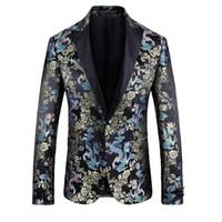 La moda de los hombres adelgazan la chaqueta 2020 nueva llegada para hombre del dragón bordado floral floral Blazers Blazers vestido de fiesta elegante de la boda Blazer