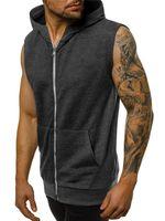 Slim uomini incappucciati della maglia patchwork senza maniche cardigan con cerniera Mens Outerwear Coats casuale Estate Gilet 3XL
