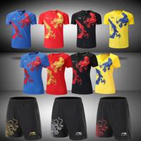 shirts Li Ning CINA Ping-pong degli uomini / donne abito nazionale Squadra Competizione pingpong, pantaloncini Drago cinese di sport, camicia Badminton Tennis
